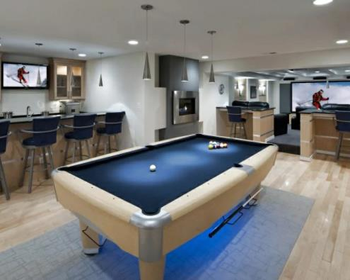 X Basement Family/Game Room Design & Construction in X, Massachusetts